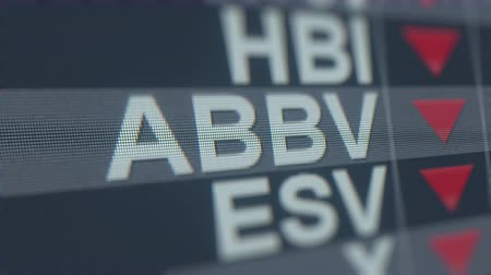 spadek : ABBVIE ABBV stock ticker with decreasing arrow, conceptual Editorial crisis related loopable animation