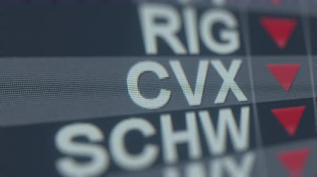 spadek : CHEVRON CVX stock ticker on the screen with decreasing arrow. Editorial crisis related loopable animation Wideo