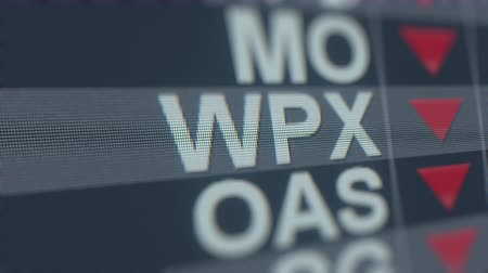 financiele crisis : WPX ENERGY WPX stock ticker with decreasing arrow, conceptual Editorial crisis related loopable animation