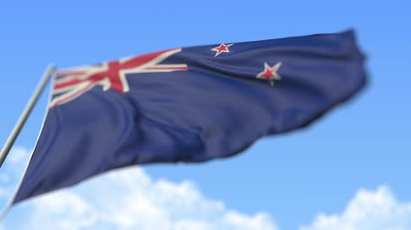 high rises : Waving national flag of New Zealand, low angle view. Loopable realistic slow motion 3D animation
