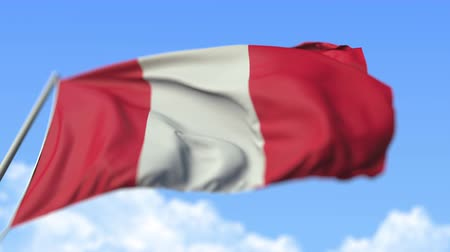 perui : Waving national flag of Peru, low angle view. Loopable realistic slow motion 3D animation