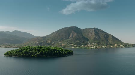 sail rock : Aerial view of beautiful mountainous island in the Ionian Sea, Greece Stock Footage