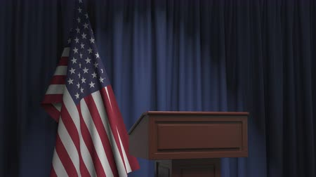 podyum : Flag of the United States and speaker podium tribune. Political event or statement related conceptual 3D animation