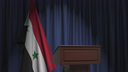 foreign national : Flag of Syria and speaker podium tribune. Political event or statement related conceptual 3D animation