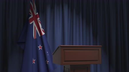 nowa zelandia : National flag of New Zealand and speaker podium tribune. Political event or statement related conceptual 3D animation