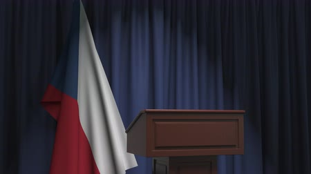 press conference : Flag of the Czech Republic and speaker podium tribune. Political event or statement related conceptual 3D animation Stock Footage