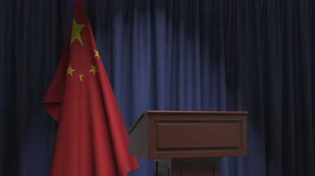 press conference : Flag of China and speaker podium tribune. Political event or statement related conceptual 3D animation