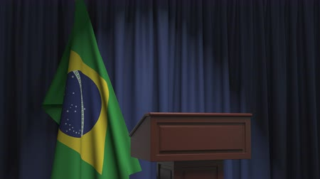 political speech : Flag of Brazil and speaker podium tribune. Political event or statement related conceptual 3D animation