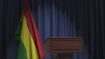 press conference : Flag of Bolivia and speaker podium tribune. Political event or statement related conceptual 3D animation