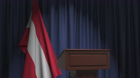 podyum : Flag of Austria and speaker podium tribune. Political event or statement related conceptual 3D animation