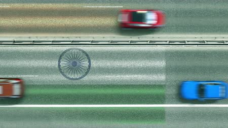 navigation : Aerial top down view of cars revealing flag of India on the road. Traveling related conceptual 3D animation