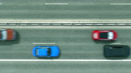переулок : Aerial top down view of cars revealing flag of Romania on the road. Traveling related conceptual 3D animation