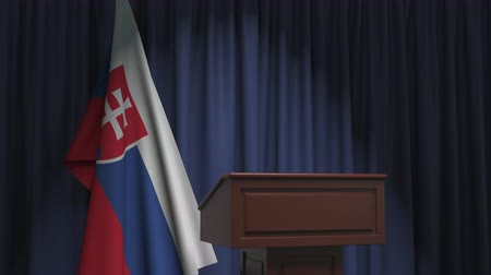Словакия : National flag of Slovakia and speaker podium tribune. Political event or statement related conceptual 3D animation