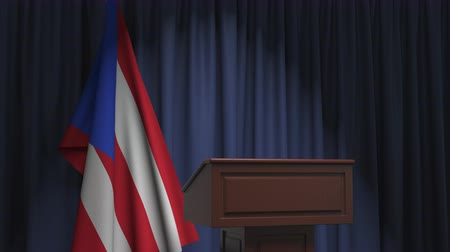 press conference : Flag of Puerto Rico and speaker podium tribune. Political event or statement related conceptual 3D animation