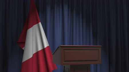 press conference : Flag of Peru and speaker podium tribune. Political event or statement related conceptual 3D animation