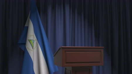 nicaraguan : National flag of Nicaragua and speaker podium tribune. Political event or statement related conceptual 3D animation
