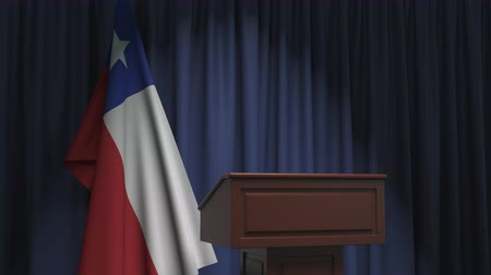 chileno : Flag of Chile and speaker podium tribune. Political event or statement related conceptual 3D animation Archivo de Video