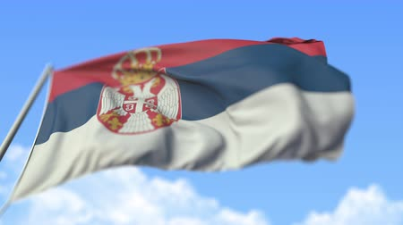 high rises : Waving flag of Serbia, low angle view. Loopable realistic slow motion 3D animation