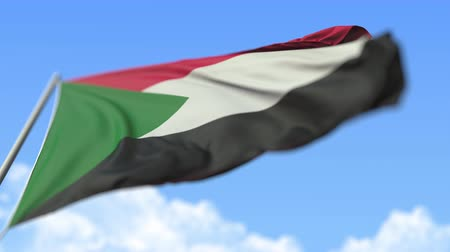 sudanian : Waving flag of Sudan, low angle view. Loopable realistic slow motion 3D animation
