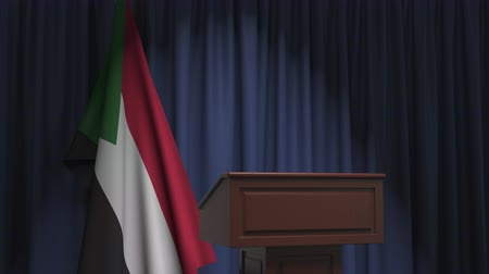 political speech : National flag of Sudan and speaker podium tribune. Political event or statement related conceptual 3D animation