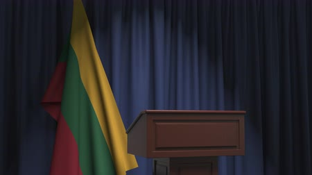 flag of lithuania : National flag of Lithuania and speaker podium tribune. Political event or statement related conceptual 3D animation