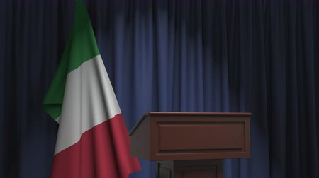 press conference : Flag of Italy and speaker podium tribune. Political event or statement related conceptual 3D animation