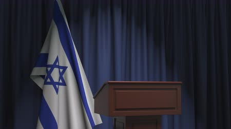 еврей : Flag of Israel and speaker podium tribune. Political event or statement related conceptual 3D animation