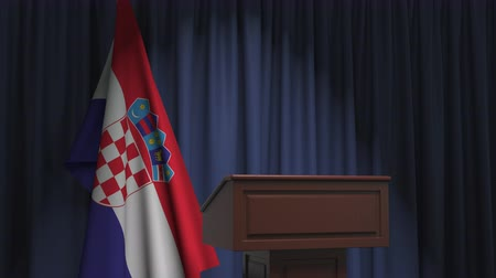 hırvat : Flag of Croatia and speaker podium tribune. Political event or statement related conceptual 3D animation