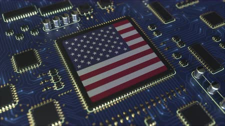contactez nous : Details of flag of the USA on the operating chipset. American information technology or hardware development related conceptual 3D animation