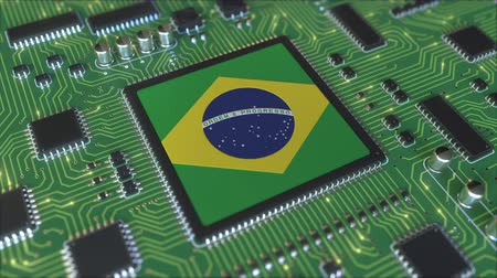 brazil : National flag of Brazil on the operating chipset. Brazilian information technology or hardware development related conceptual 3D animation