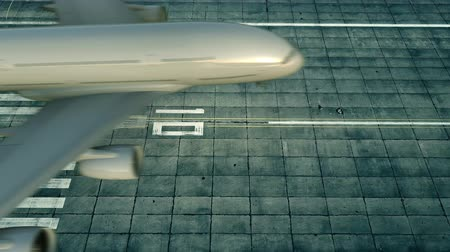 megérkezik : Aerial view of a landing airplane revealing flag of Greece on the airfield of an airport. Air travel related conceptual 3D animation