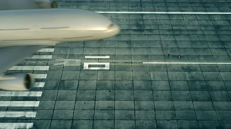 airfield : Aerial view of a landing airplane revealing flag of Finland on the airfield of an airport. Air travel related conceptual 3D animation Stock Footage