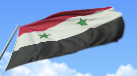 syrian : Flying national flag of Syria, low angle view. Loopable realistic slow motion 3D animation