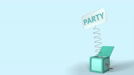 проворный : Jack-in-the-box with PARTY text on the popping plate. 3D animation Стоковые видеозаписи