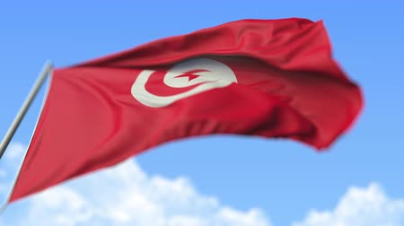 high rises : Waving national flag of Tunisia, low angle view. Loopable realistic slow motion 3D animation Stock Footage