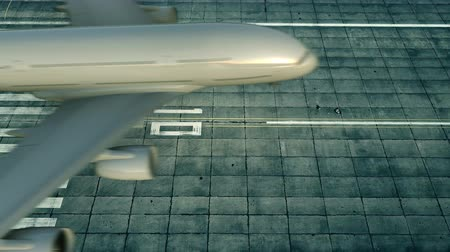 gürcü : Aerial view of a landing airplane revealing flag of Georgia on the airfield of an airport. Air travel related conceptual 3D animation Stok Video