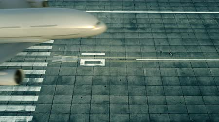 chegar : Aerial view of a landing airplane revealing flag of Uzbekistan on the airfield of an airport. Air travel related conceptual 3D animation