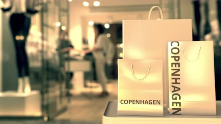 kopenhagen : Shopping bags with Copenhagen text. Shopping in Denmark related 3D animation