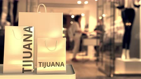 vendor : Bags with Tijuana text. Shopping in Mexico related 3D animation Filmati Stock