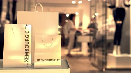 luxemburg : Bags with Luxembourg City text. Shopping in Luxembourg related 3D animation Stockvideo