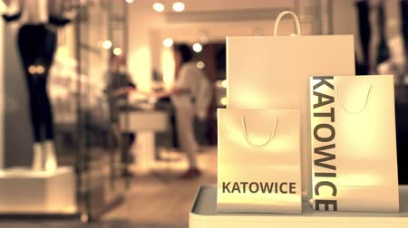 katowice : Bags with Katowice text. Shopping in Poland related 3D animation