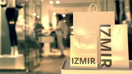 showcase : Bags with Izmir text. Shopping in Turkey related conceptual 3D animation