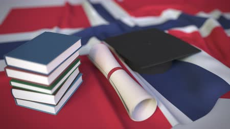 mortarboard : Graduation cap, books and diploma on the Norwegian flag. Higher education in Norway related conceptual 3D animation