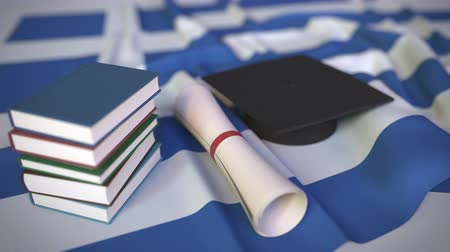 greek flag : Graduation cap, books and diploma on the Greek flag. Higher education in Greece related conceptual 3D animation