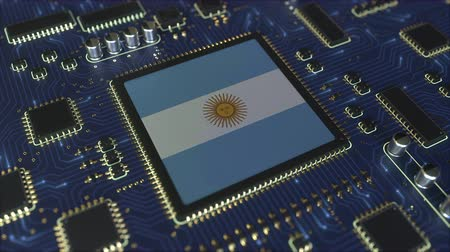 mikroişlemci : National flag of Argentina on the operating chipset. Argentinean information technology or hardware development related conceptual 3D animation