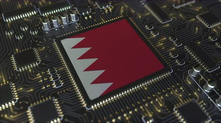 mikroişlemci : National flag of Bahrain on the operating chipset. Bahraini information technology or hardware development related conceptual 3D animation