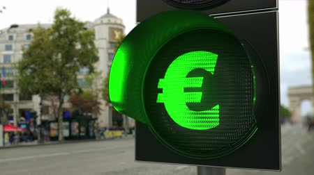 enable : Euro sign on green traffic light signal. Forex related conceptual 3D animation Stock Footage