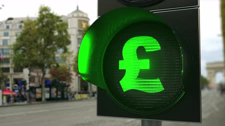 esterlino : British pound sterling GBP sign on green traffic light signal. Forex related conceptual 3D animation
