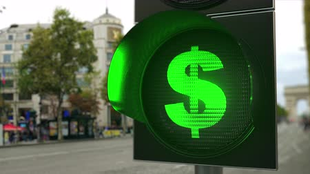 regra : Dollar sign on green traffic light signal. Forex related conceptual 3D animation