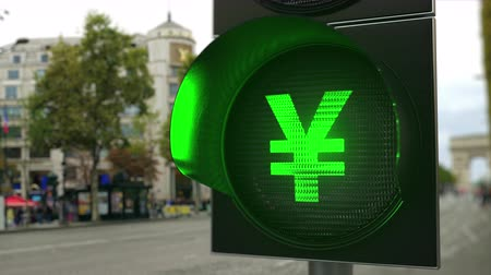 enable : Yen sign on green traffic light signal. Forex related conceptual 3D animation Stock Footage